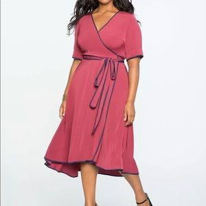 Eloquii True Wrap Dress with Piping Detail NWT